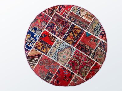 Circle Patchwork 120 cm (dm) - Wool Persian Carpet