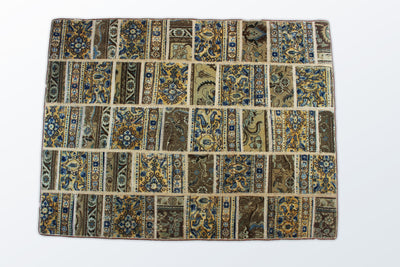 Kashan Patchwork 135×178 cm - Wool Persian Carpet