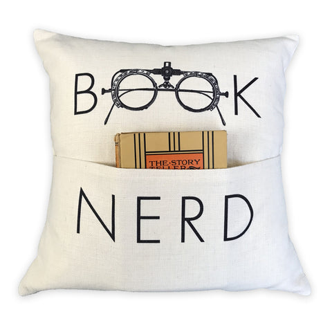 Book Nerd Pocket Pillow Cover | Book Lover Gift