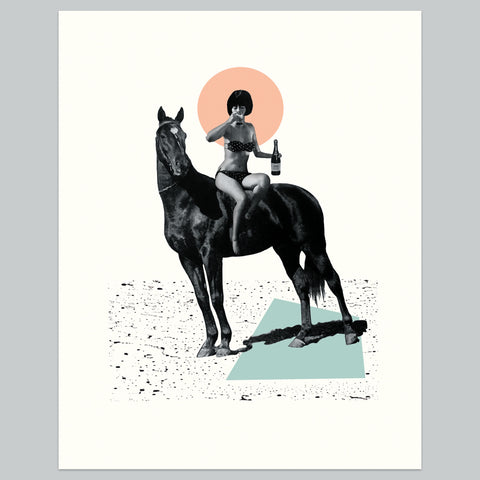 Horse Girl Print | Vintage Collage Art Giclee Wall Art Print