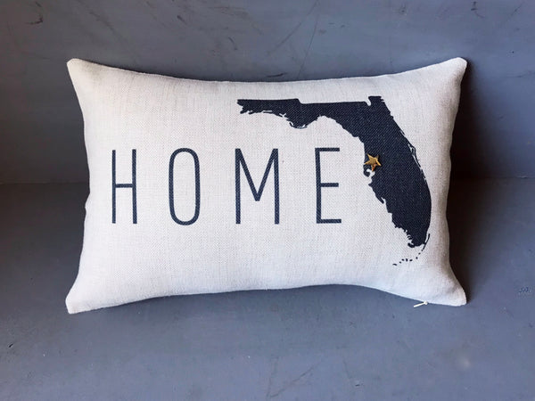Home Florida State Map Pillow Cover | Pin-Your-Home Map Pillow Decorative Throw Pillow Cushion Sham