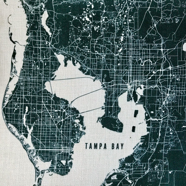 Black Tampa Bay Area Pin-Your-Home Map Pillow Cover | Decorative Throw Pillow Cushion Sham