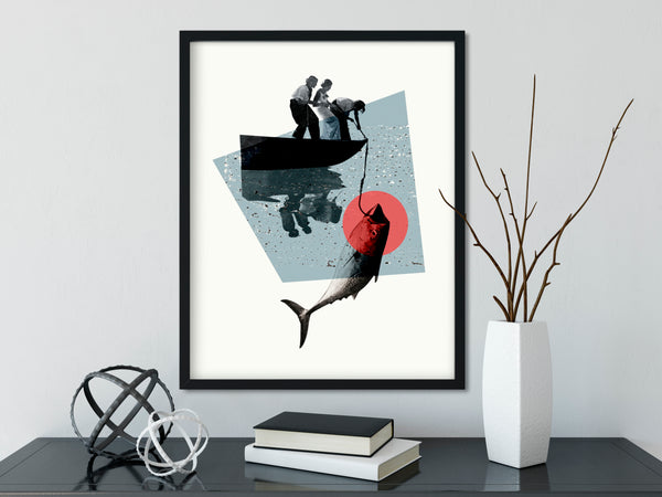 Fishing Vintage Collage Giclee Wall Art Print