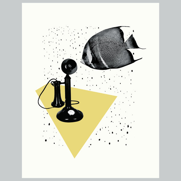 Call Me  | Fish Telephone Vintage Collage Giclee Wall Art Print