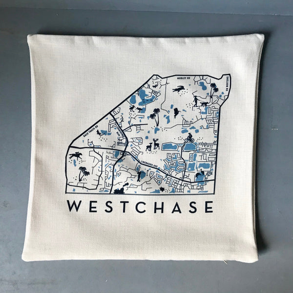 Westchase Map Pillow Cover | PIn-Your-Home | Polyester Linen Pillow