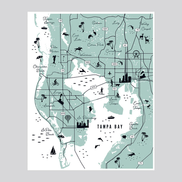 Tampa Bay Icon Map | Giclee Wall Art Print