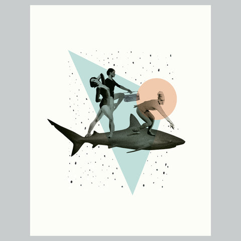 Shark Girls Print  | Vintage Shark Collage Art Giclee Wall Art Print