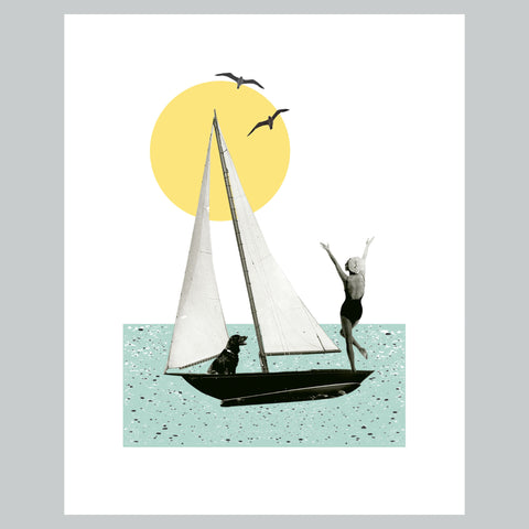 Sunset Sailing  | Vintage Collage Art Sailing Boat Dog Giclee Wall Art Print