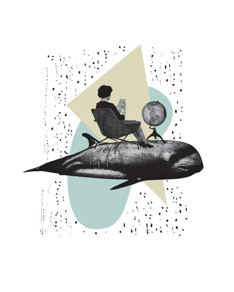 Travel In Style  | Vintage Whale Collage Art Giclee Wall Art Print