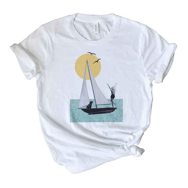 Vintage Collage Artwork Print  Short-Sleeve Unisex T-Shirt | Sunset Sailing