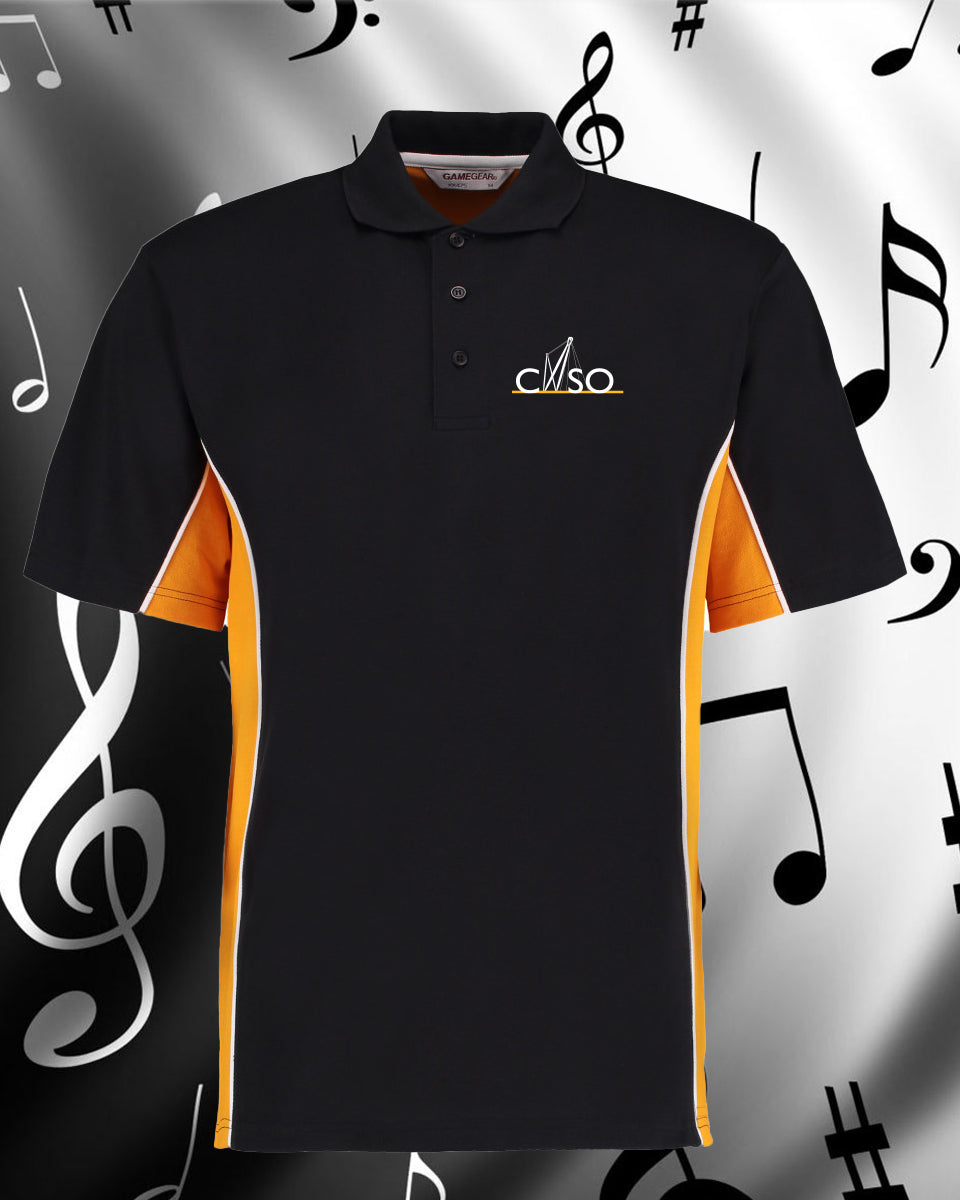 CNSO - KK475 Unisex Two Tone Polo shirt Black & Gold