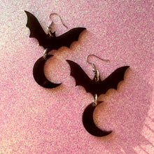 Load image into Gallery viewer, Bats over the Moon Smoky Acrylic Earrings