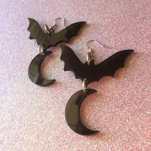 Bats over the Moon Smoky Acrylic Earrings