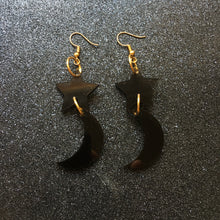 Load image into Gallery viewer, PREORDER* Smoky Black Stars and the Moon Earrings