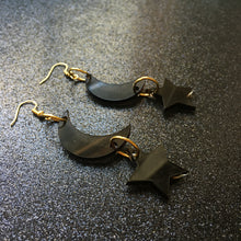 Load image into Gallery viewer, Smoky Black Moon and Stars Earrings