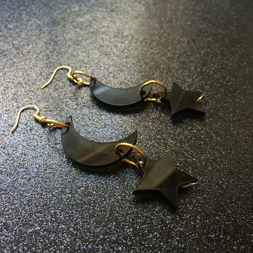 Smoky Black Moon and Stars Earrings