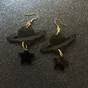 PREORDER* Smoky Black Planet and Stars Earrings