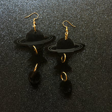 Load image into Gallery viewer, Smoky Black Space Age Tiered Earrings