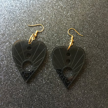 Load image into Gallery viewer, Smoky Black Planchette Earrings