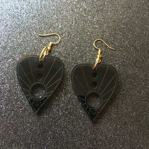 Smoky Black Planchette Earrings
