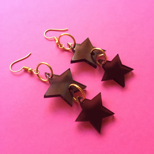 PREORDER* Smoky Black Star Tiered Earrings