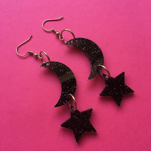 PREORDER* Glittery Black Moon and Stars Earrings