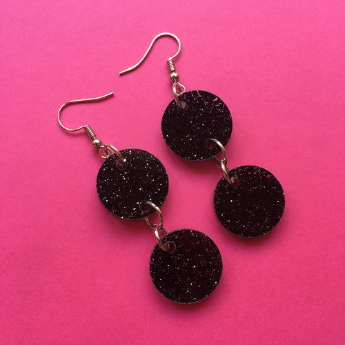 PREORDER* Glittery Black Circle Earrings