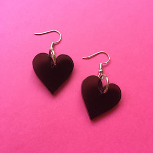 PREORDER* Smoky Black Hearts Earrings