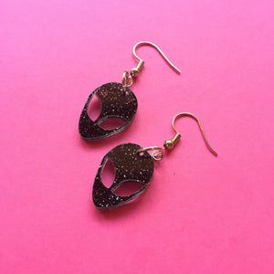 PREORDER* Black & Glittery Alien Earrings