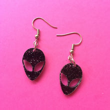 Load image into Gallery viewer, PREORDER* Black & Glittery Alien Earrings