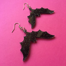 Load image into Gallery viewer, PREORDER* Glittery Black Bat Earrings