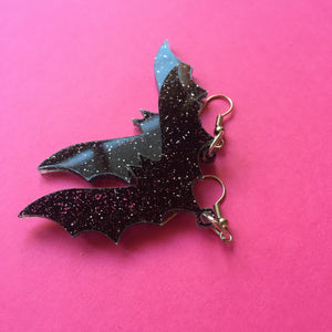 PREORDER* Glittery Black Bat Earrings