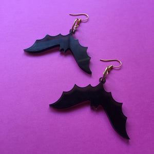 PREORDER* Smoky Black Bats Earrings