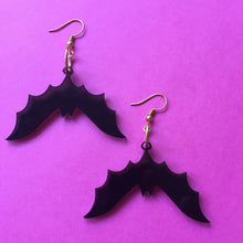 Load image into Gallery viewer, PREORDER* Smoky Black Bats Earrings