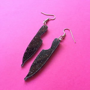 PREORDER* Glittery Black Knife Earrings
