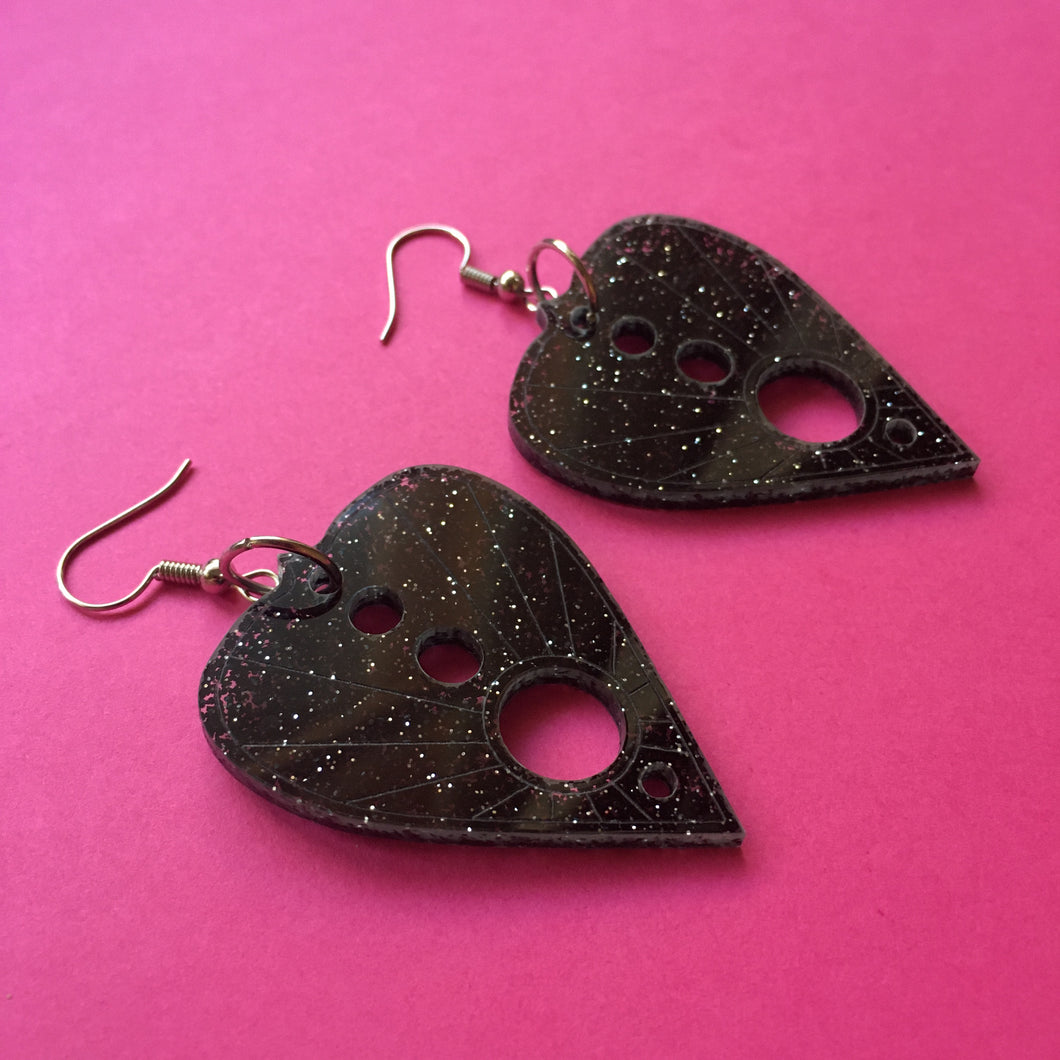 PREORDER* Glittery Black Planchette Earrings