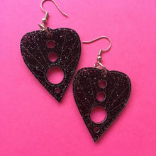 Load image into Gallery viewer, PREORDER* Glittery Black Planchette Earrings