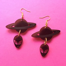 Load image into Gallery viewer, Smoky Black Alien and Planets Earrings