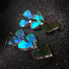 Load image into Gallery viewer, Iridescent Heart Tiered Earrings