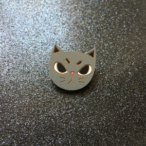 I Will Bite - Handpainted Cat Face Wooden Pin
