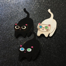Load image into Gallery viewer, Blep - Handpainted Cat Face Wooden Pin