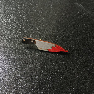 Glittery Blood Knife or Cleaver - Handpainted Pin