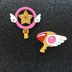 Sakura's Keys Hand Painted Pins
