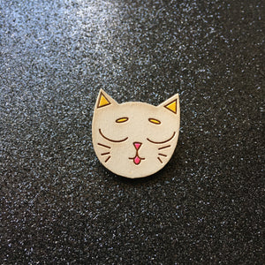 I Love Catnip - Handpainted Cat Face Wooden Pin