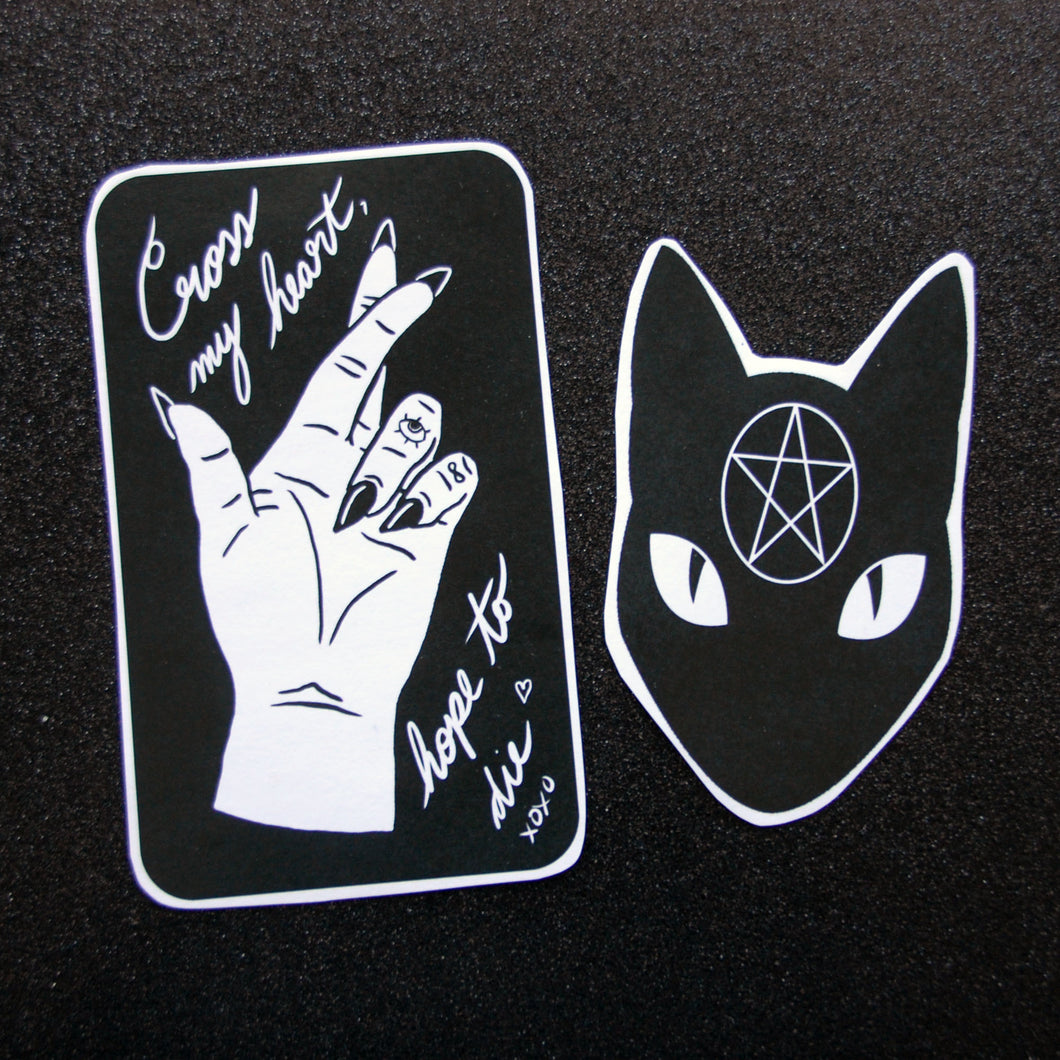 Cross my Heart Hope to Die // Pentagram Cat Sticker