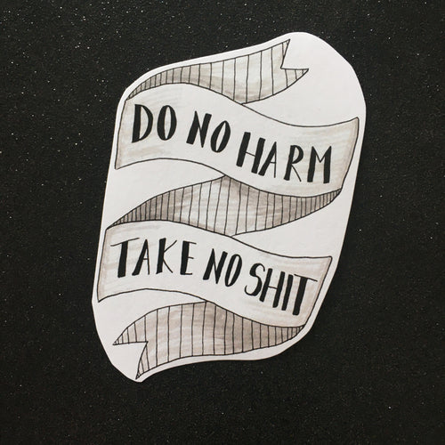 Do No Harm, Take No Shit Sticker