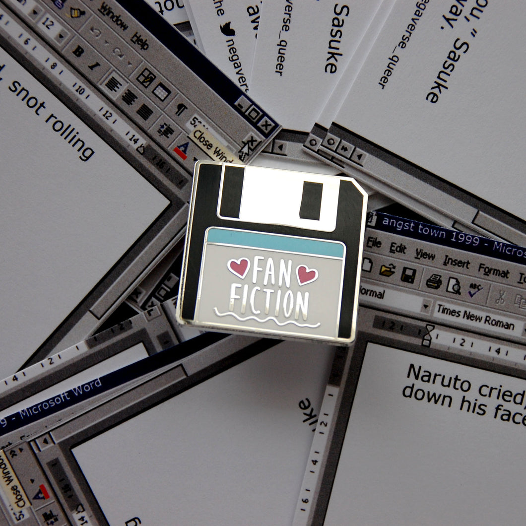 Fan Fiction Floppy Disk Enamel Pin
