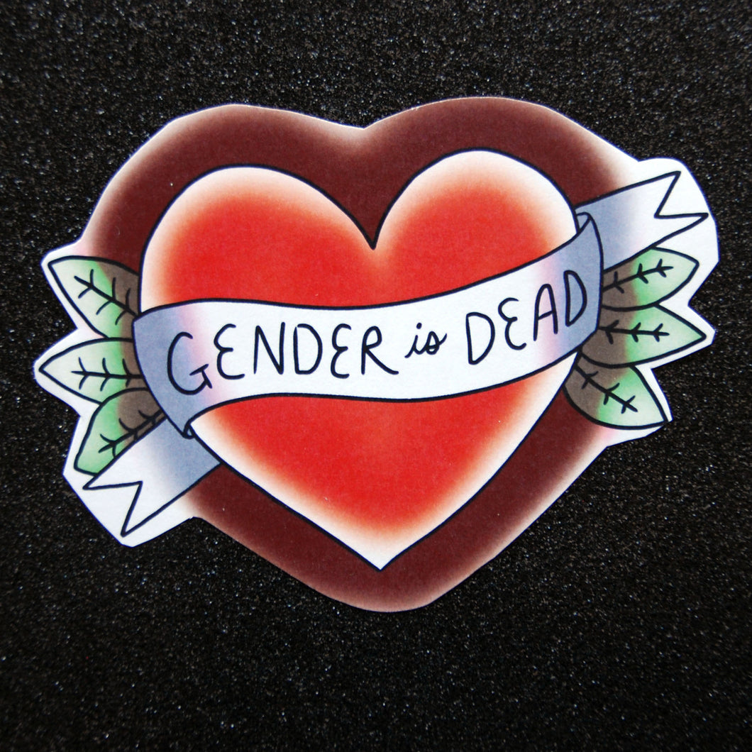 Gender is Dead Vintage Tattoo Sticker