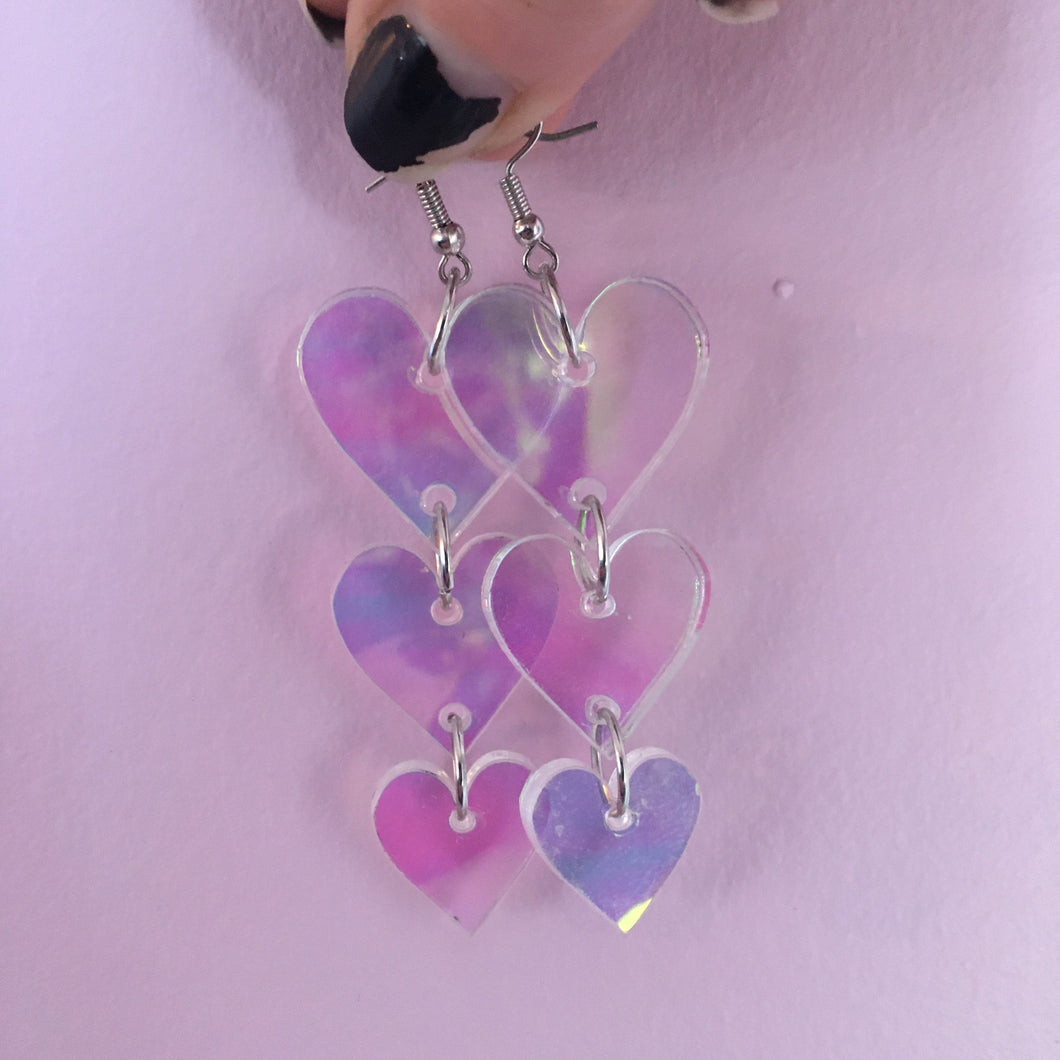 Iridescent Heart Tiered Earrings