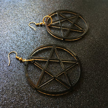 Load image into Gallery viewer, PREORDER* Smoky Black Pentacle Earrings
